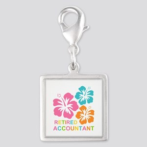 Hibiscus Retired Accountant Silver Square Charm