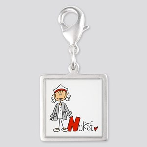 Female Stick Figure Nurse Silver Square Charm