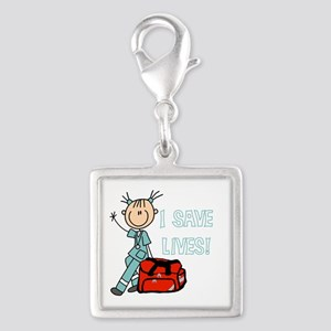 Female EMT I Save Lives Silver Square Charm