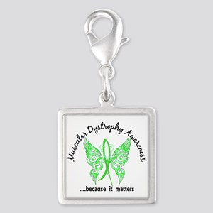 Muscular Dystrophy Butterfly Silver Square Charm