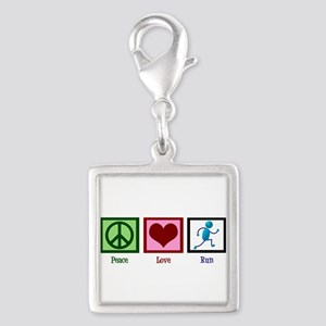 Peace Love Run Silver Square Charm