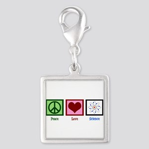 Peace Love Science Silver Square Charm