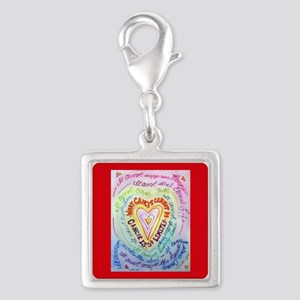 Rainbow Heart Cancer Silver Square Charm