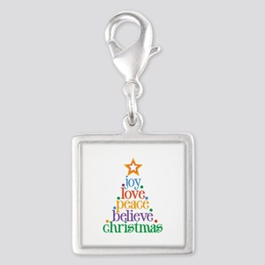 Joy Love Christmas Silver Square Charm