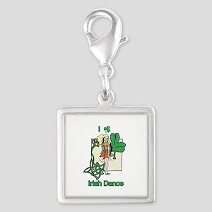 Irish Dance Shamrock Silver Square Charm
