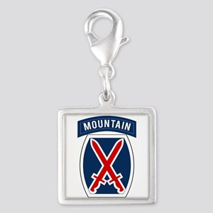 10th Mountain Silver Square Charm