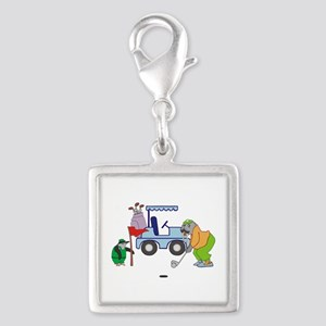 Playing Golf Silver Square Charm