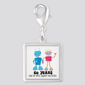 60 Year Anniversary Robot Couple Silver Square Cha