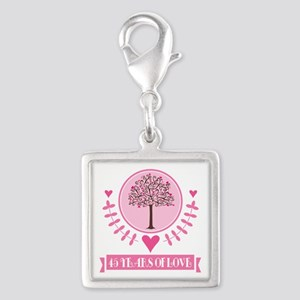 45th Anniversary Love Tree Silver Square Charm
