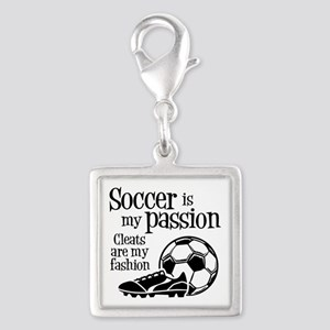 CLEATS Silver Square Charm