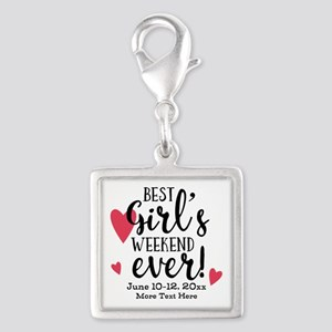 Best Girl's Weekend Ever PD Silver Square Charm