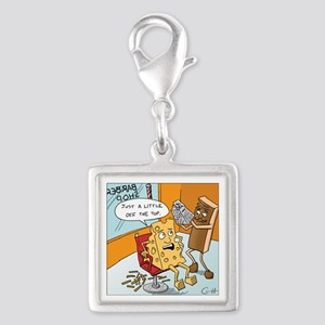 Little off the Top Silver Square Charm