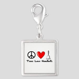 Peace, Love, Handbells Silver Square Charm
