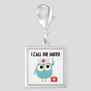 Owl Nurse Silver Square Charm
