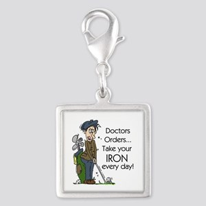Golf Iron Every Day Silver Square Charm