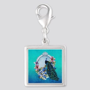 Peacock Design With Flowers Silver Square Charms