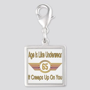 Funny 65th Birthday Silver Square Charm