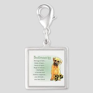 Bullmastiff Pup Silver Square Charm