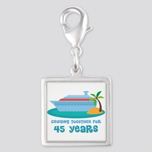 45th Anniversary Cruise Silver Square Charm