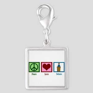 Peace Love Debate Silver Square Charm