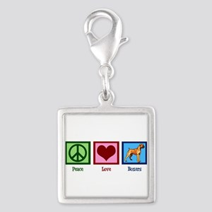 Peace Love Boxer Dog Silver Square Charm