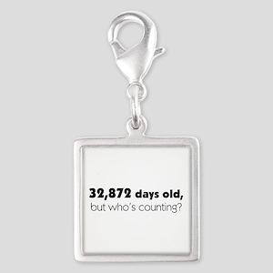 90th Birthday Silver Square Charm