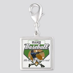 Personalized Home Run Time Silver Square Charm