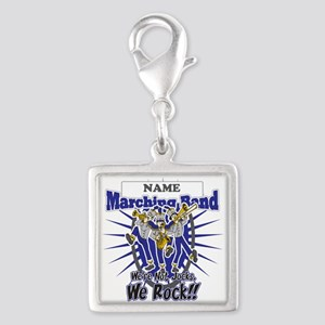 Marching Band Rocks(Blue) Silver Square Charm