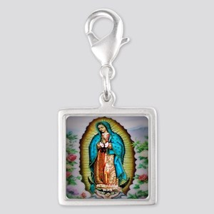 Our Lady of Guadalupe Silver Square Charm