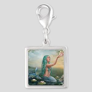 Marine Mermaid Silver Square Charm