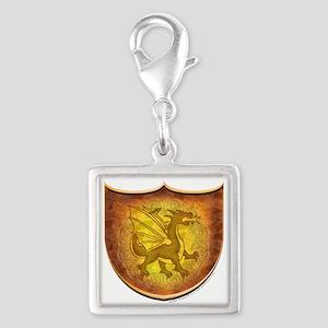 Copper Dragon Shield Silver Square Charm