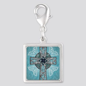 Traditional Celtic Cross Turquoise Charms