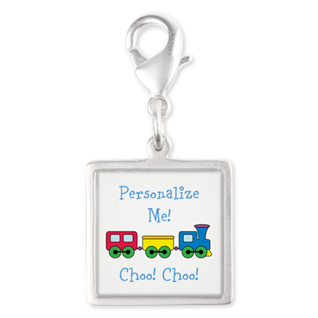 Choo Choo Train Silver Square Charm