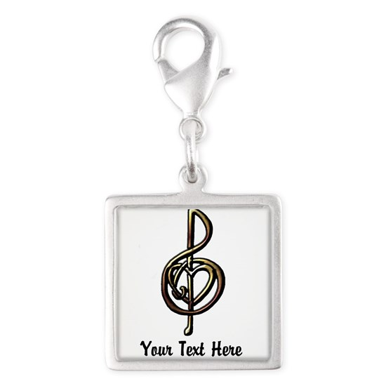 Customizable Metallic Treble Clef and Heart