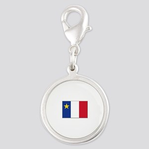 Flag of Acadia Silver Round Charm