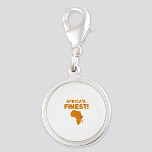 Kenya map Of africa Designs Silver Round Charm