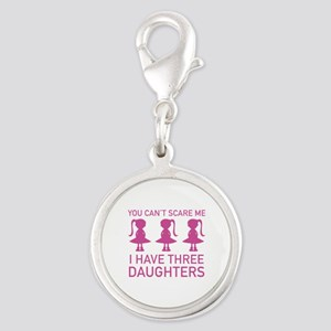 I Have Three Daughters Silver Round Charm