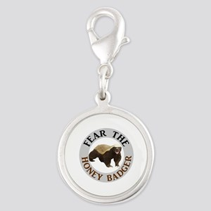 Honey Badger Fear Silver Round Charm