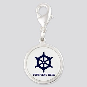 Nautical Wheel Boat Ship Perso Silver Round Charm