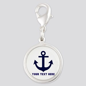 Nautical Anchor Personalized Silver Round Charm