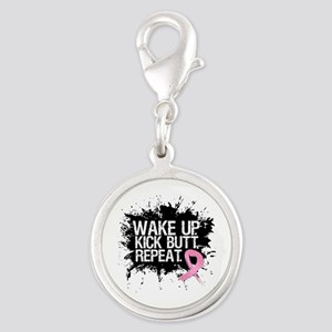 Fight Like a Warrior Breast Cancer Silver Round Ch