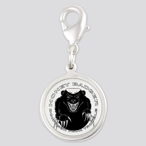 Honey badger Silver Round Charm