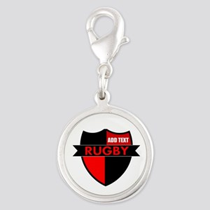 Rugby Shield Black Red Charms