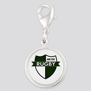 Rugby Shield White Green Silver Round Charm