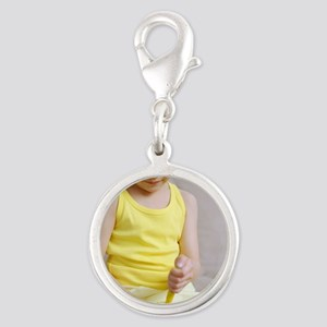 Insulin injection Silver Round Charm