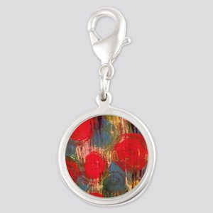 Holiday Roses Silver Round Charm