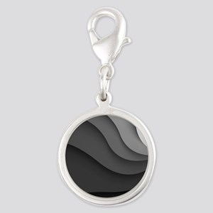 Black Abstract Silver Round Charm