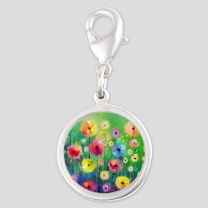 Watercolor Flowers Silver Round Charm