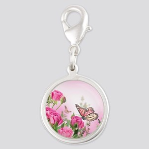 Butterfly Flowers Silver Round Charm
