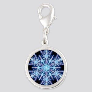 October Snowflake - square Silver Round Charm